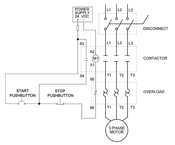 Full voltage non reversing 3 phase motors how to wire a motor starter library automationdirect com 3 phase contactor wiring diagram start stop at soozxer.org