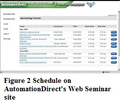Schedule on AutomationDirect's Web Seminar site