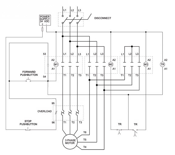 Wye delta open transition 3 phase motors how to wire a motor starter library automationdirect com 3 phase motor starter wiring diagram at gsmportal.co