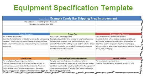Equipment Specification Template For Automation Projects – Spec Sheet Template