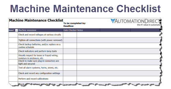 machine maintenance checklist free template. Black Bedroom Furniture Sets. Home Design Ideas