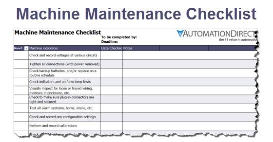 Machine Maintenance Checklist | Free Template