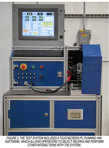 Alternator test machine uses touch screen HMI for easy operator communication and direction