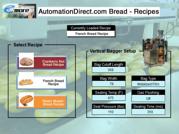 C-More HMI Recipes Bakery
