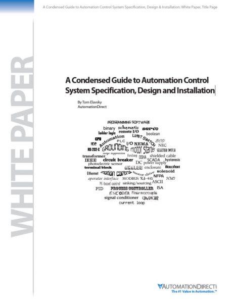 Automation Control System Specification  Design  U0026 Installation